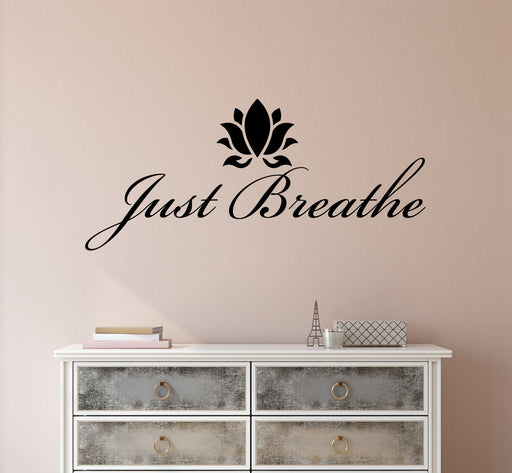 Vinyl Wall Decal Stickers Motivation Quote Yoga Relaxing Words Inspiring Breathe Letters 2078ig (22.5 in x 10 in)