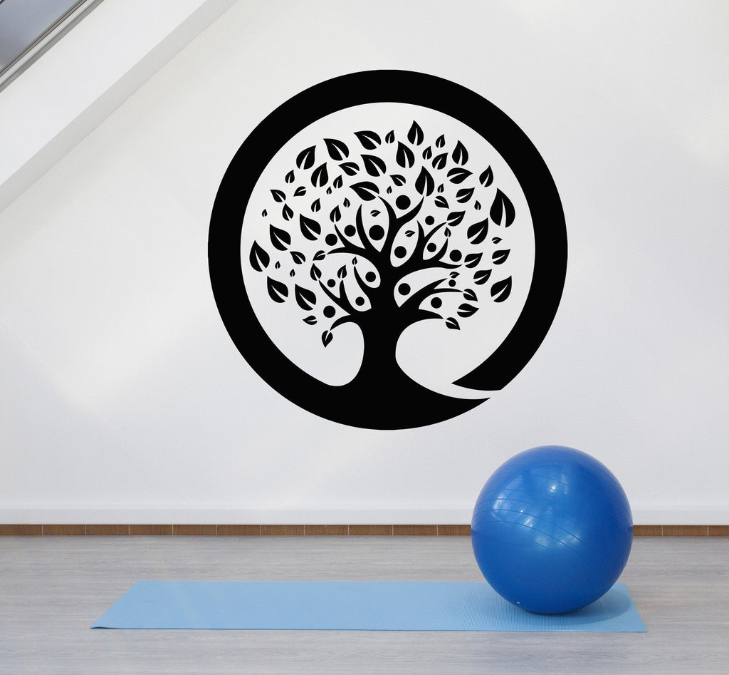 Vinyl Wall Decal Zen Circle Enso Tree Meditation Room Yoga ... for Wall Sticker Tree Silhouette  155fiz