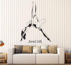 Vinyl Wall Decal Aerial Silk Girl Woman Acrobatics Stickers Mural Unique Gift (ig4589)