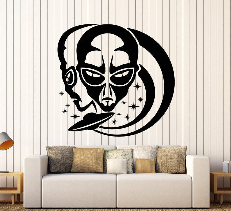 Vinyl Wall Decal Alien UFO Humanoids Space Stars Stickers Unique Gift (ig4615)