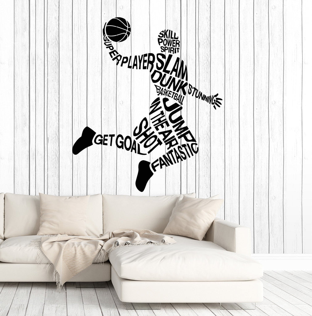 Vinyl Wall Decal Basketball Player Words Sports Art Stickers Mural Unique  Gift (ig4936)