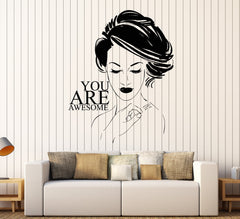 Wall Sticker Decor Vinyl Beauty Salon Quote Girl Room Stickers Unique Gift (ig4301)