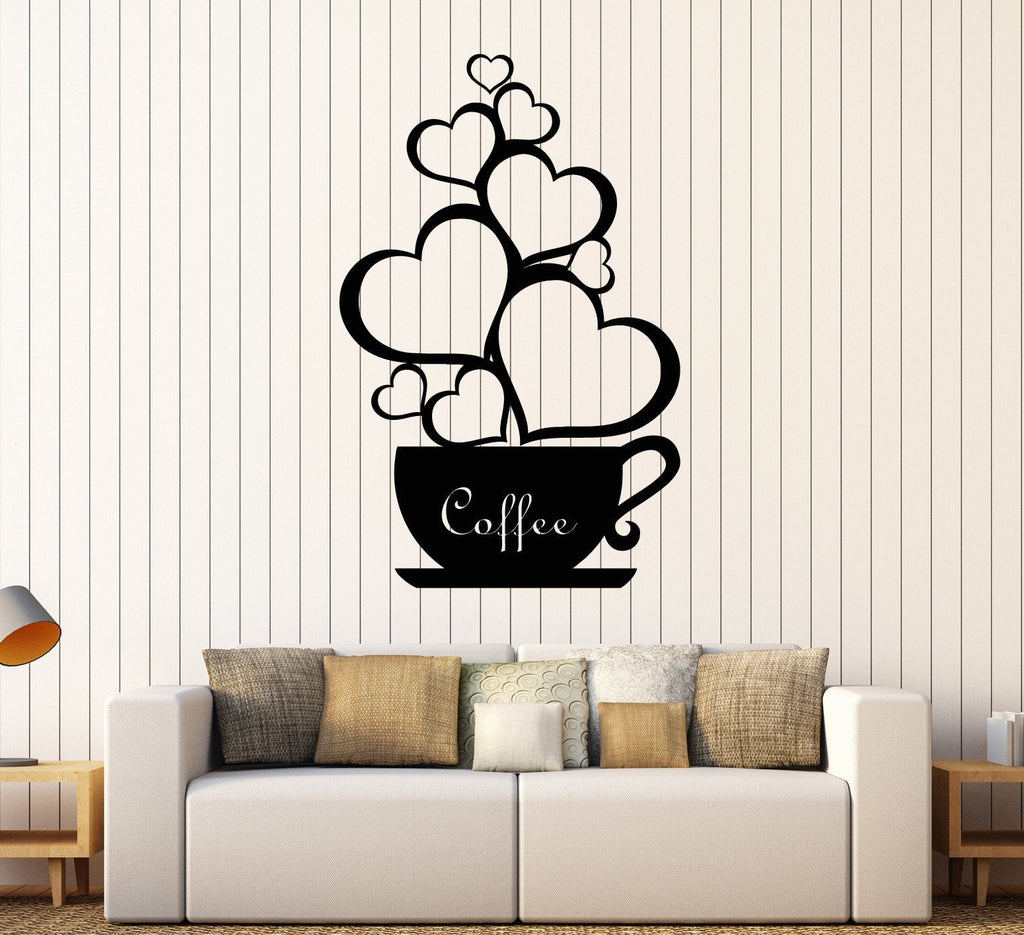 Vinyl wall decal coffee shop cup hearts love romantic stickers vinyl wall decal coffee shop cup hearts love romantic stickers unique gift ig4445 amipublicfo Choice Image