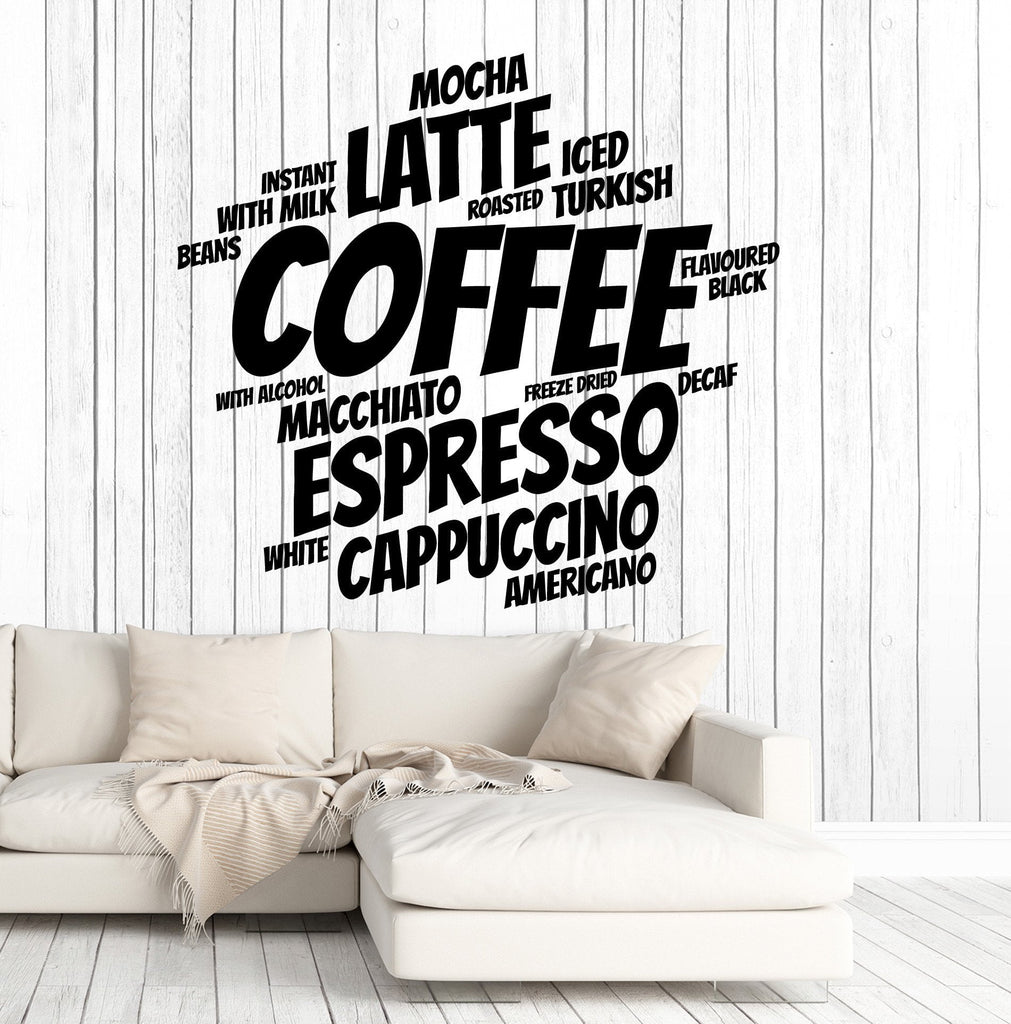 Vinyl Wall Decal Coffee Shop Decoration Words Kitchen Cafe Stickers ...