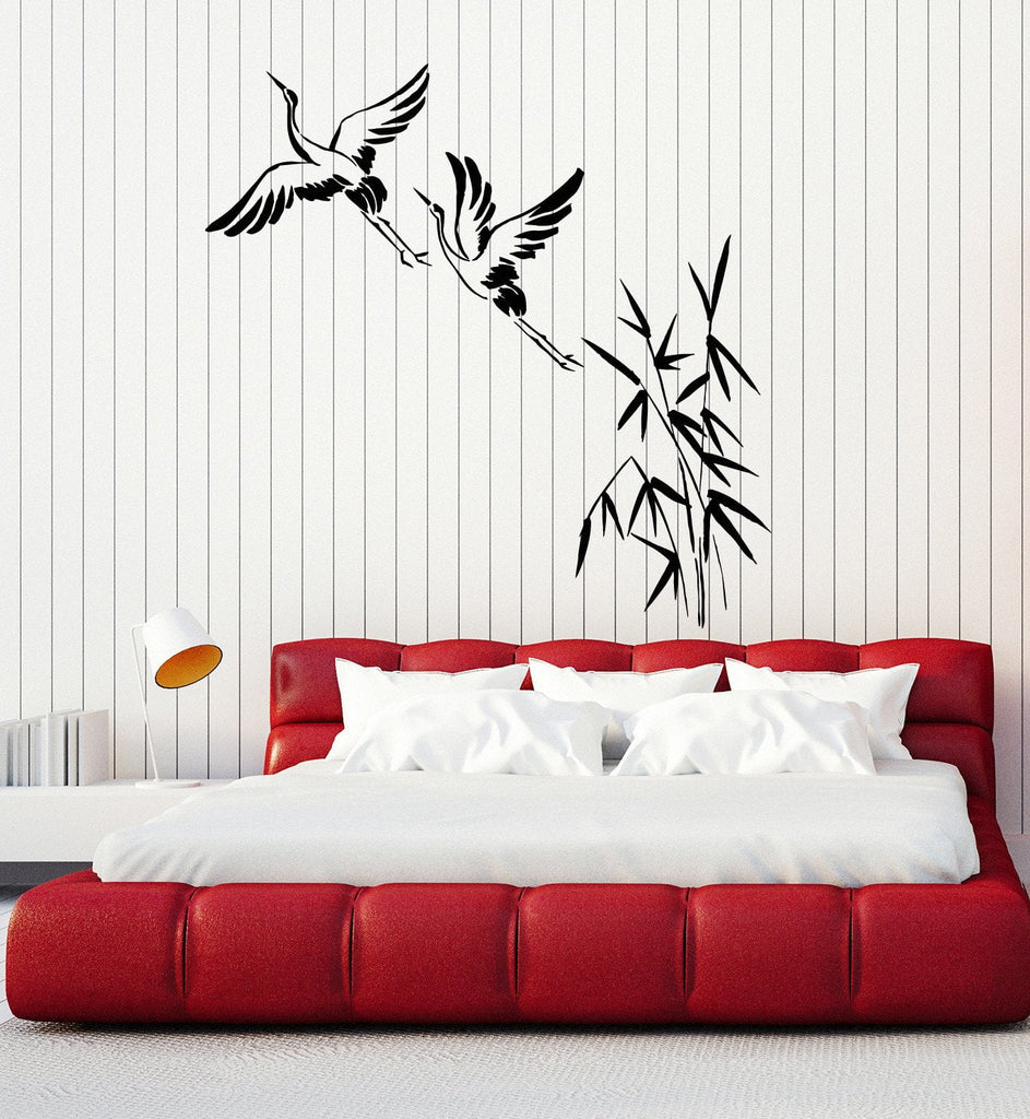 Vinyl Wall Decal Cranes Bamboo Asian Birds Japanese Art Stickers - Vinyl wall decals asian