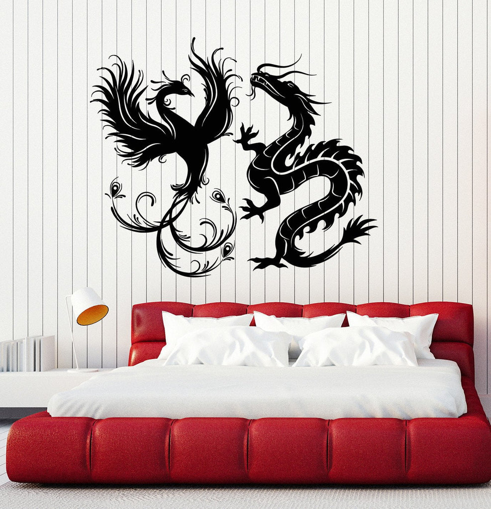 Vinyl Wall Decal Dragon Phoenix Bird Fantasy Asian Style Stickers - Custom vinyl wall decals dragon