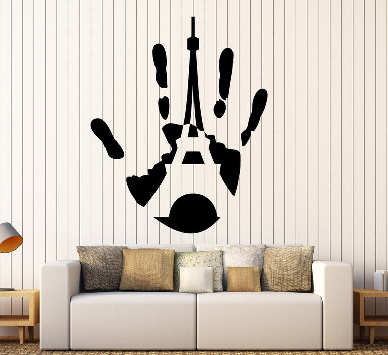 Vinyl Wall Decal Handprint Paris Eiffel Tower French Style Stickers