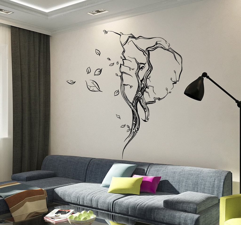 Vinyl Wall Decal Abstract Elephant Head Leaves Animal Stickers - Vinyl wall decals abstract