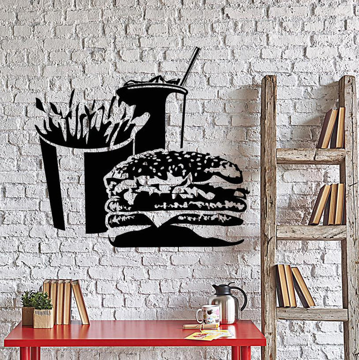 Vinyl Wall Decal Fast Food Hamburger French Fries Soft Drink