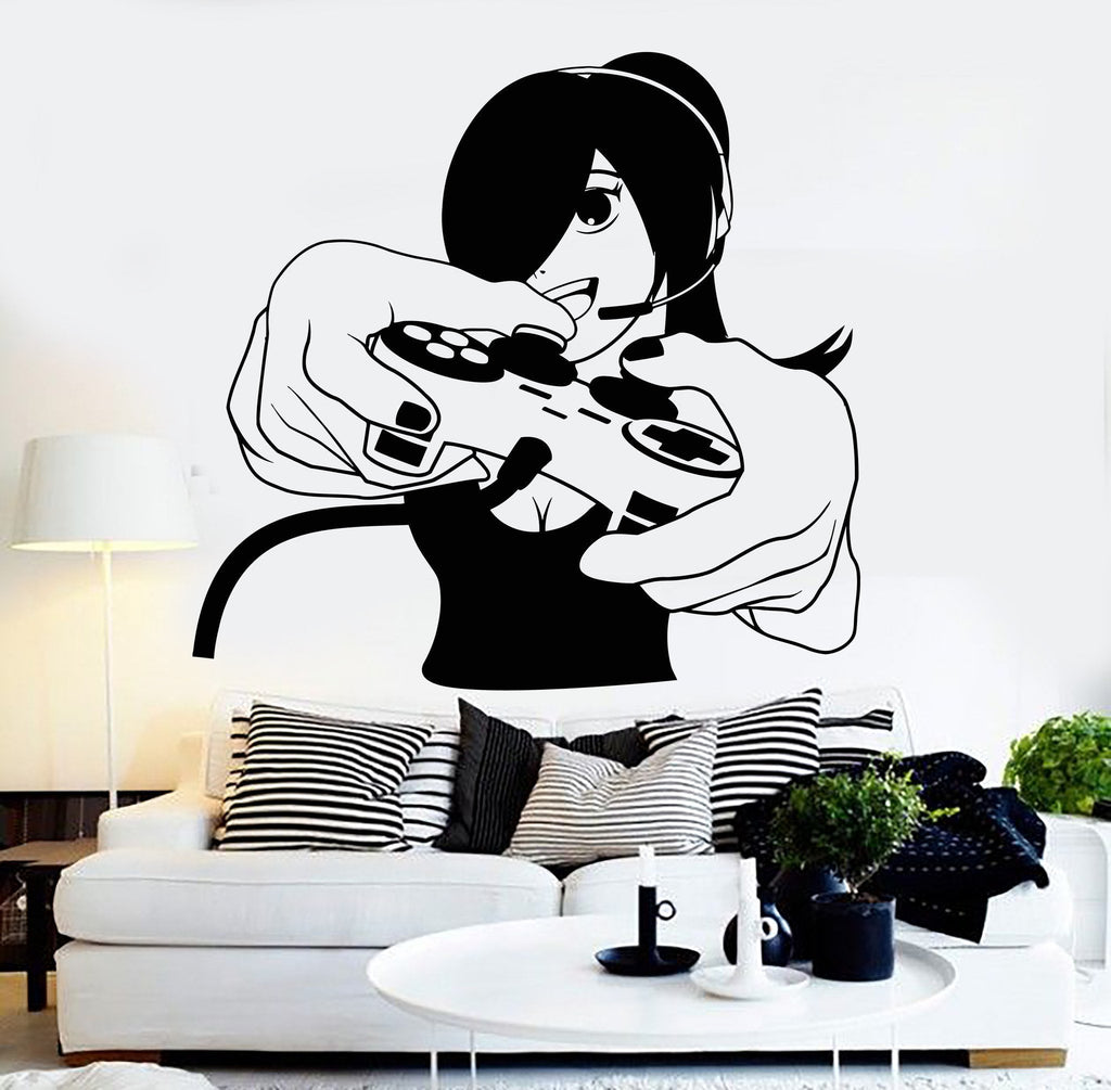 Vinyl Wall Decal Gamer Girl Video Game Play Room Gaming Stickers Unique  Gift (ig4571)