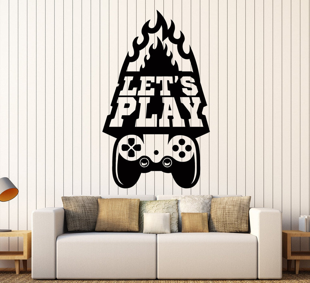 Vinyl Wall Decal Gaming Art Lets Play Quote Video Game Stickers