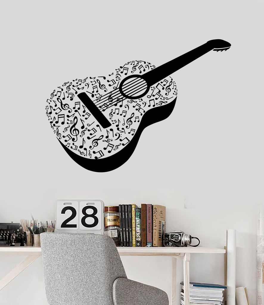 Vinyl Wall Decal Acoustic Guitar Notes Musical Instrument Stickers Unique Gift (ig4509)