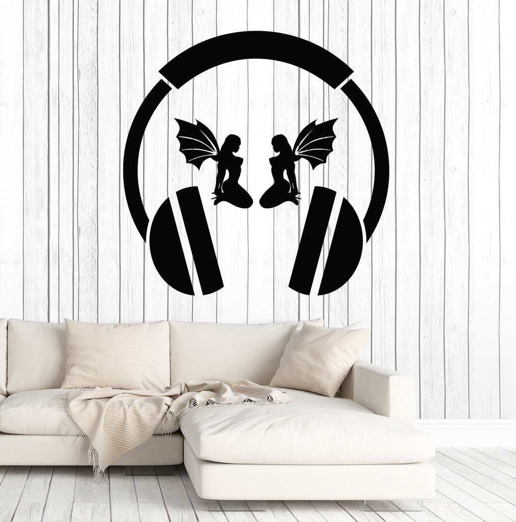 Vinyl Wall Decal Headphones Sexy Girl Wings Musical Cool Decor - Cool vinyl decals