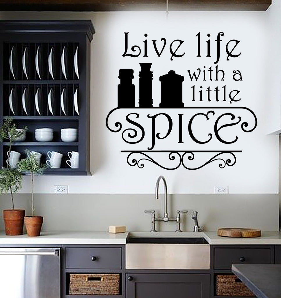Vinyl Wall Decal Kitchen Quote Spice Chef Restaurant Cook Stickers - Vinyl decals for kitchen walls