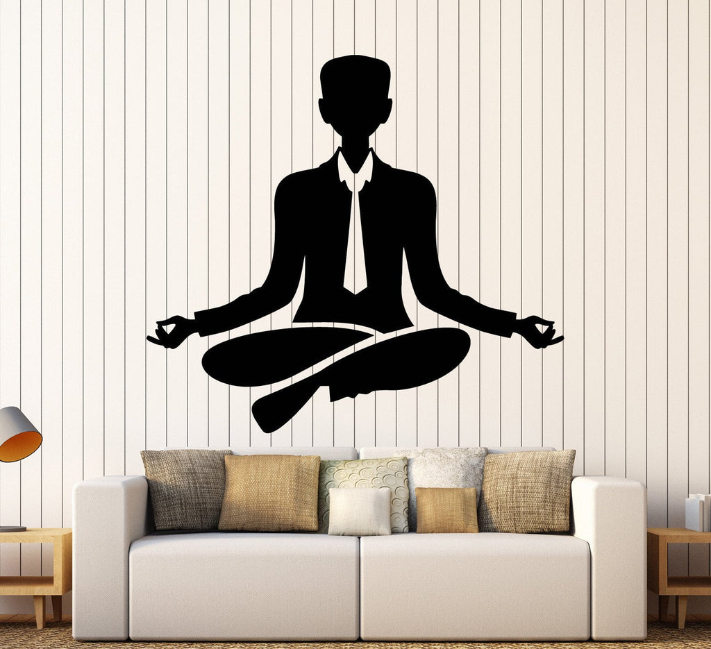 Vinyl Wall Decal Office Worker Relax Meditation Yoga Stickers Unique Gift  (ig3934)