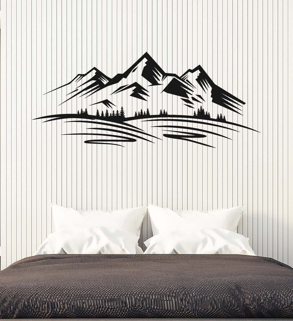 Vinyl wall decal mountains trees nature landscape decor stickers vinyl wall decal mountains trees nature landscape decor stickers unique gift ig4903 amipublicfo Choice Image