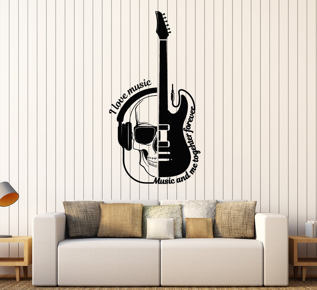 Vinyl Wall Decal Guitar Headphones Skull Musical Quote Stickers - Guitar custom vinyl stickers