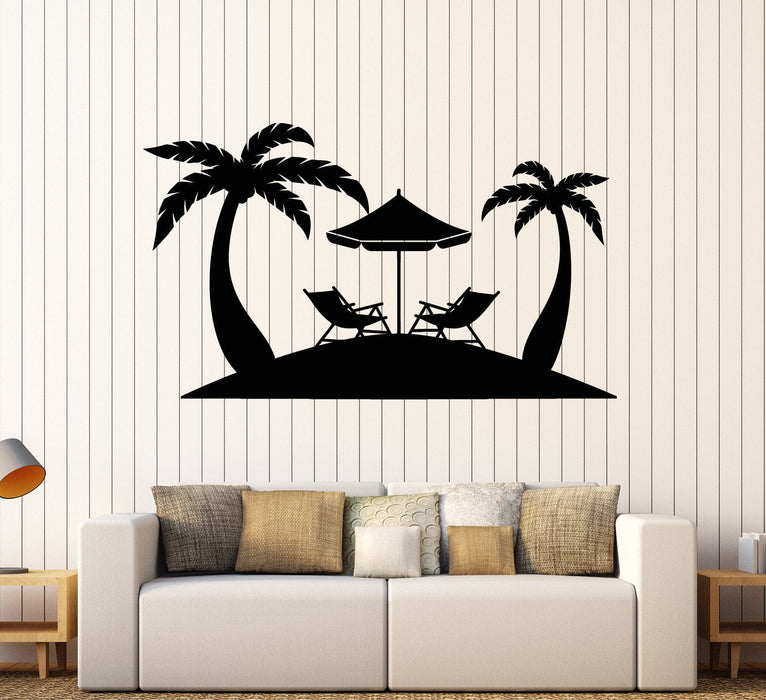 Vinyl Wall Decal Palms Beach Relax Tropical Tree Stickers Mural
