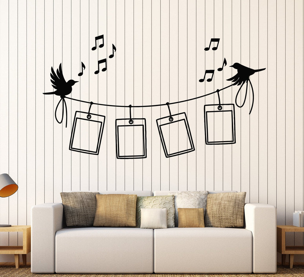 Vinyl Wall Decal Photo Frames Birds Music Home Decor Stickers Unique ...