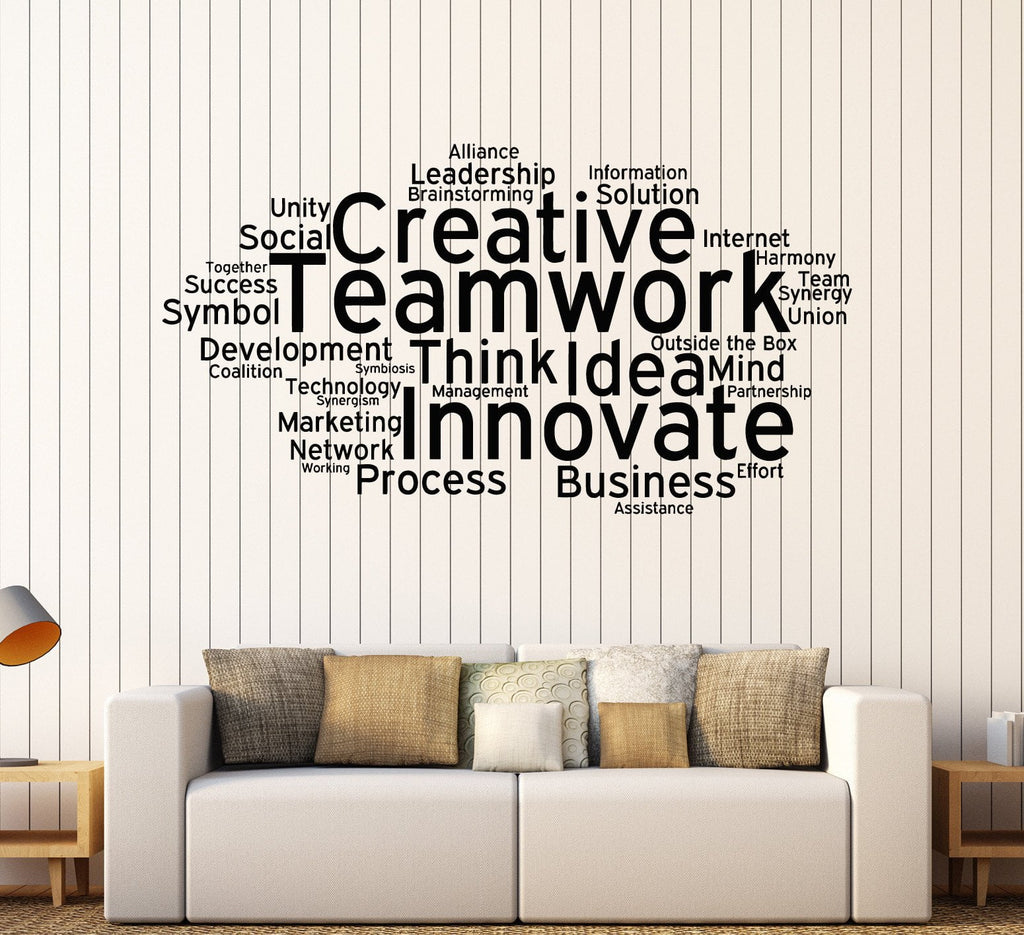 Vinyl Wall Decal Teamwork Cloud Words Office Decoration Stickers - Vinyl stickers for marketing