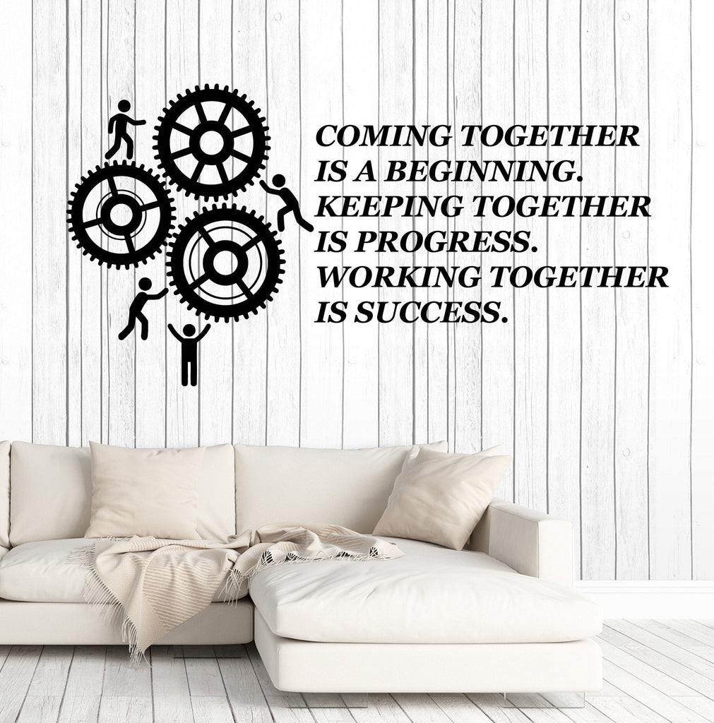 office wall stickers. Vinyl Wall Decal Teamwork Quote Office Motivation Gears Stickers Murals Unique Gift (ig4716) ,
