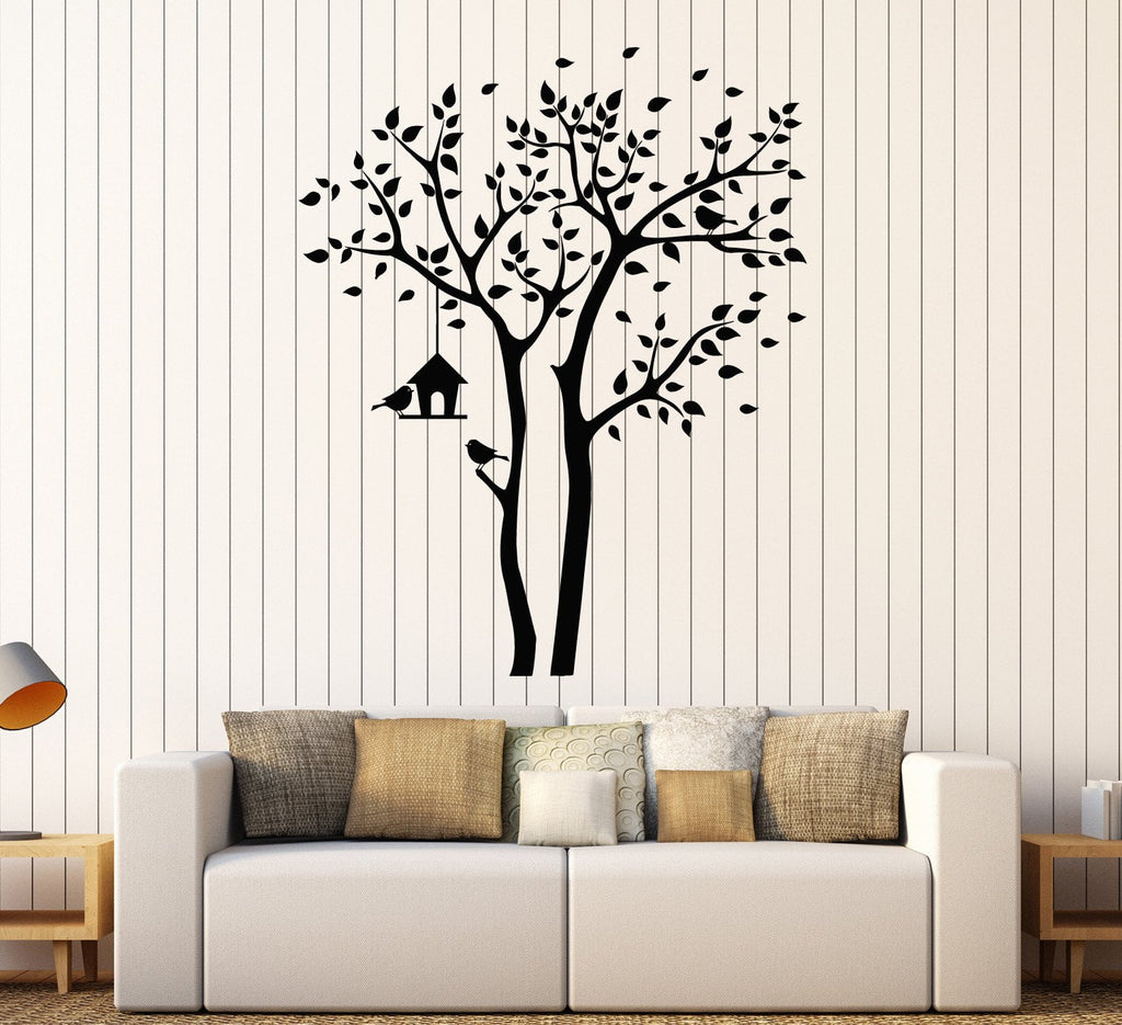 Vinyl Wall Decal Tree Branch Nest Box Leaves Room Decor Stickers - Wall decals leaves