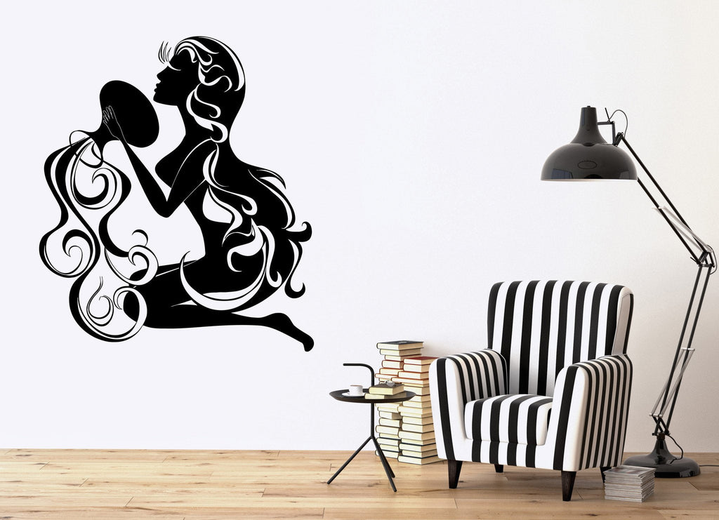 Vinyl Decal Aquarius Zodiac Sign Girl Woman Bathroom Decor Wall Stickers Unique Gift (ig374)
