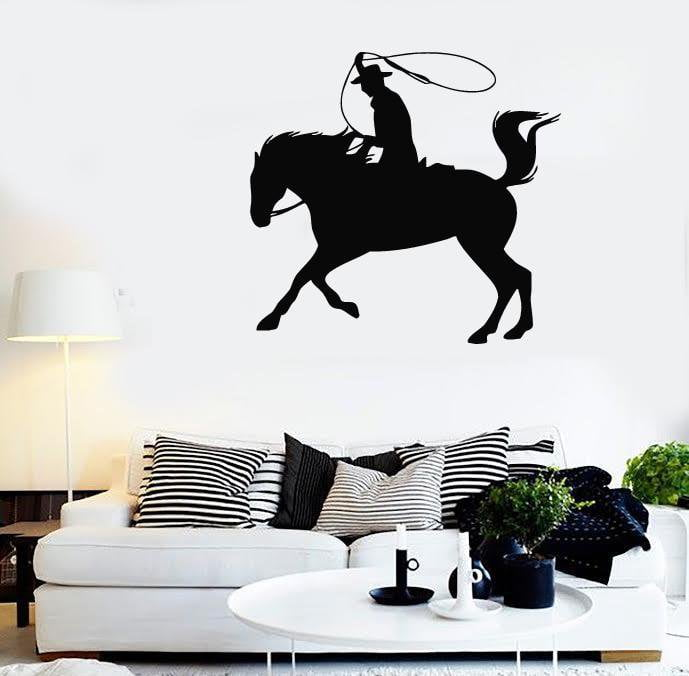 Wall Stickers Vinyl Decal Texas Cowboy Horse Rider Silhouette Lasso Unique Gift (ig307)