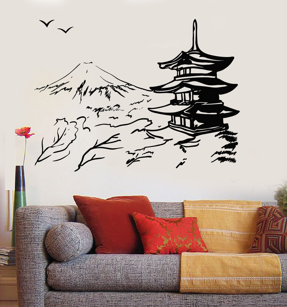 Vinyl Wall Decal Asian Pagoda Mountain Japan Oriental Nature - Vinyl wall decals asian