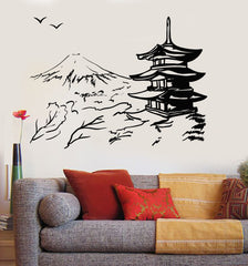 Vinyl Wall Decal Asian Pagoda Mountain Japan Oriental Nature Stickers Unique Gift (ig3647)