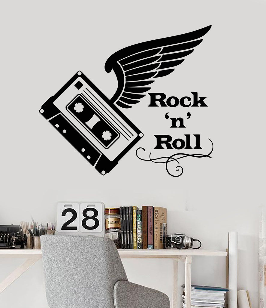 Vinyl Wall Decal Audiocassette Music Rock'n'roll Wings Sickers Mural Unique Gift (ig3408)