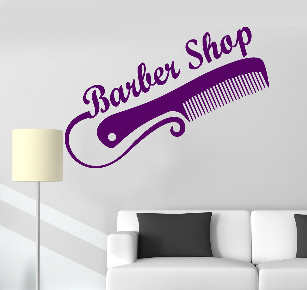 Vinyl Wall Decal Barber Shop Beauty Salon Hair Barber Tools Stickers (ig3243)