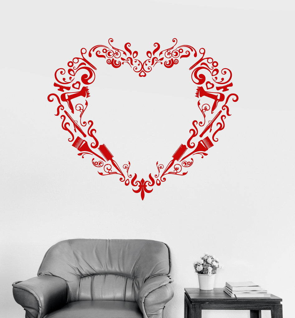 Vinyl Wall Decal Barber Tools Hairdresser Hair Salon Beauty Heart Stickers Unique Gift (ig3009)