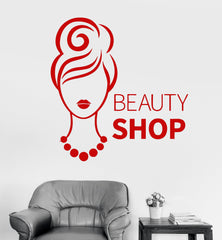 Vinyl Wall Decal Beauty Shop Woman Fashion Girl Stickers (300ig)