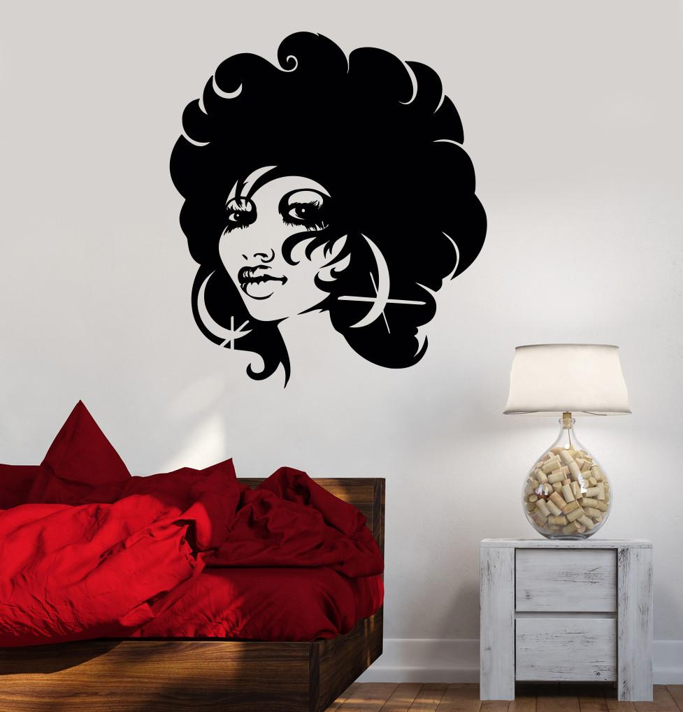 Wall Decal Beautiful Black Woman Lady Afro Beauty Salon Vinyl Stickers Unique Gift (ig2897) & Wall Decal Beautiful Black Woman Lady Afro Beauty Salon Vinyl ...