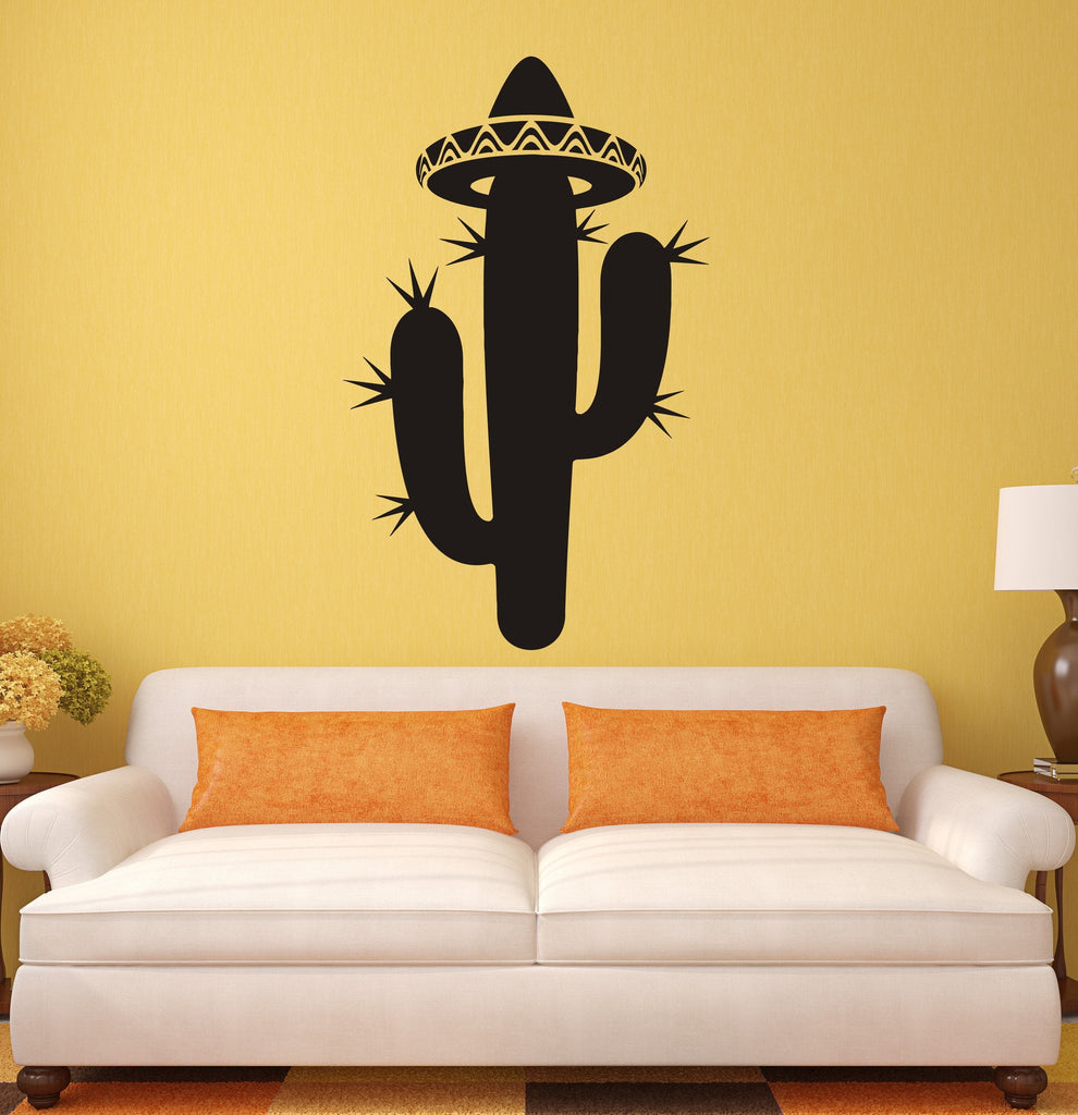 Vinyl Decal Cactus Sombrero Latin America Mexico Room Decor Wall ...