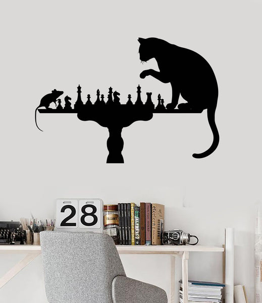 Home Decoration Wall Vinyl Decal Funny Chess Cat Mouse Art