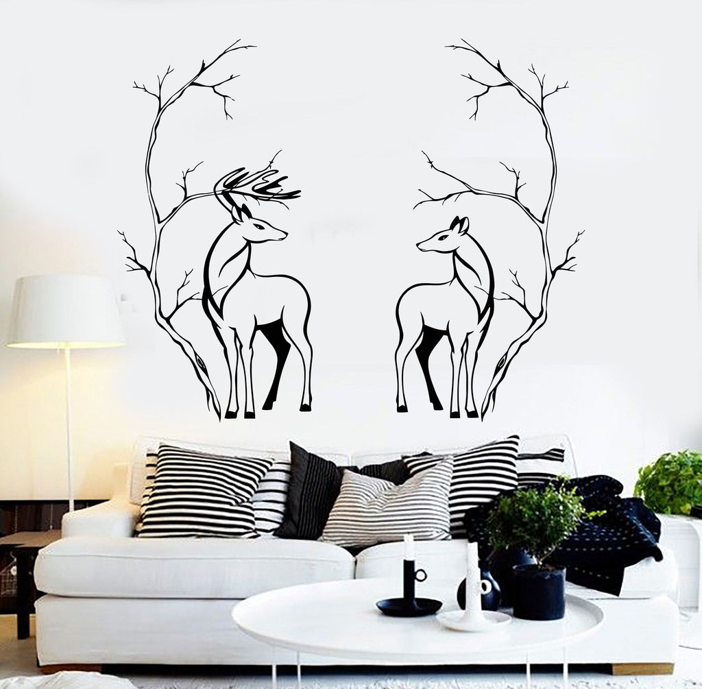 Wall Decor Sticker Vinyl Wall Decal Deers Couple Animals Tree Branches Room Decor
