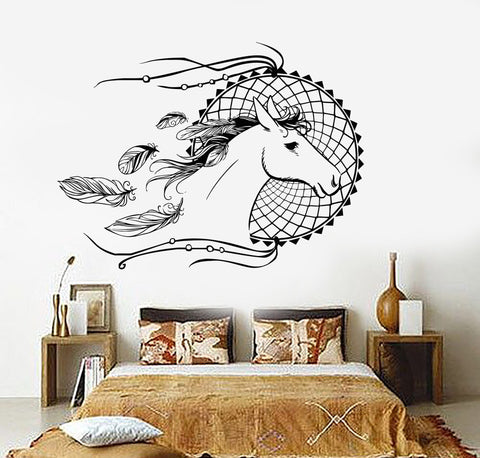 Vinyl Wall Decal Dream Catcher Horse Bedroom Decor Dreamcatcher Stickers Unique Gift (ig3624)