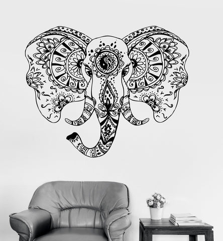 Vinyl Wall Decal Elephant Head Animal Tribal Ornament Stickers Unique Gift (ig3551)