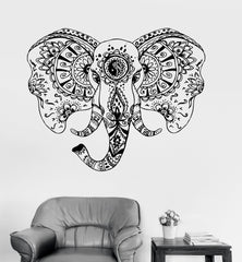 Vinyl Wall Decal Elephant Head Animal Tribal Ornament Stickers (ig3551)