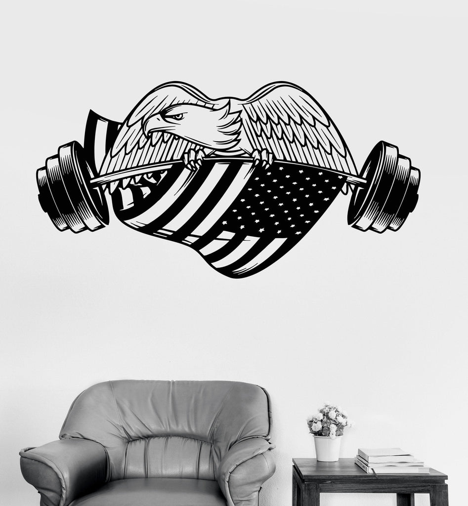 Sticker gym wall - Vinyl Wall Decal Gym American Eagle Bodybuilding Fitness Sport Stickers Ig3503
