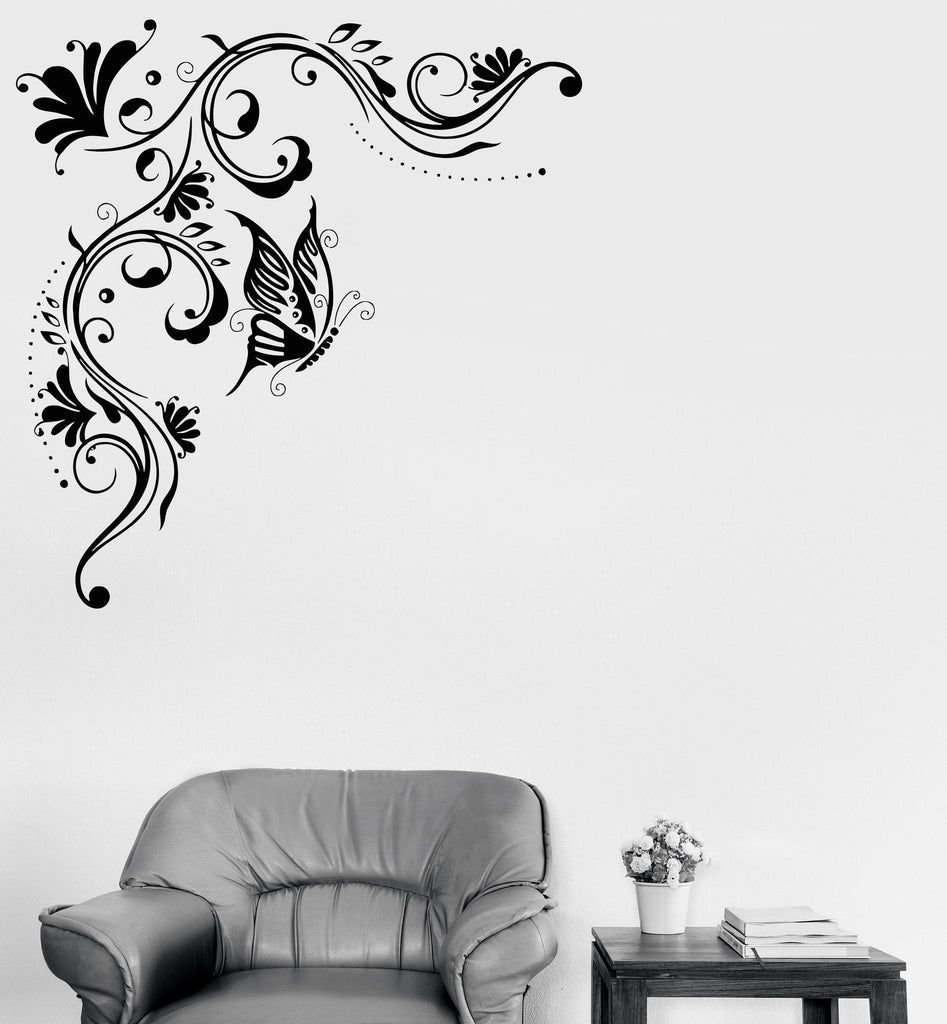 Wall Vinyl Decal Floral Pattern Art Mural Butterfly Flowers Stickers  (ig3140)