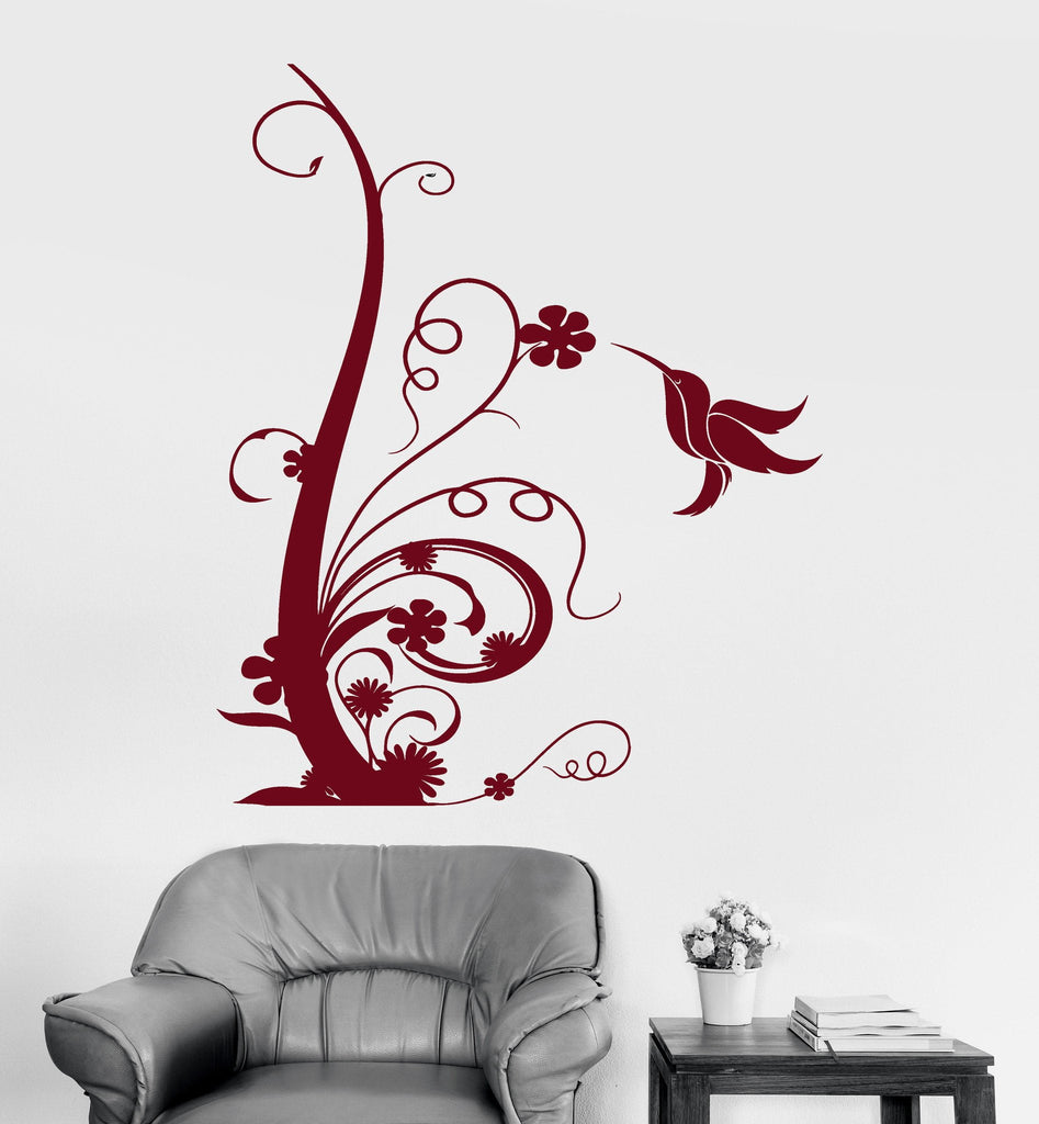 Vinyl Wall Decal Beautiful Bird Flower Art Floral Room Decoration Stickers Unique Gift (ig3050)