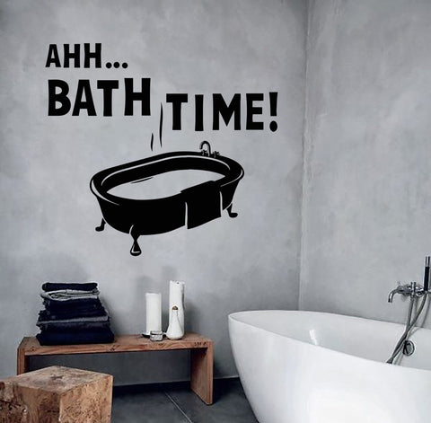 Vinyl Wall Decal Bathroom Decoration Quote Bath Time Mural Stickers (ig3046)