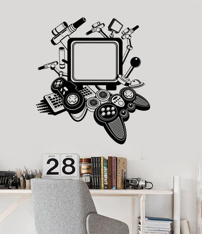 Vinyl Decal Gaming Decor Video Game Playroom Teen Room Joystick Wall  Stickers Unique Gift (ig2946