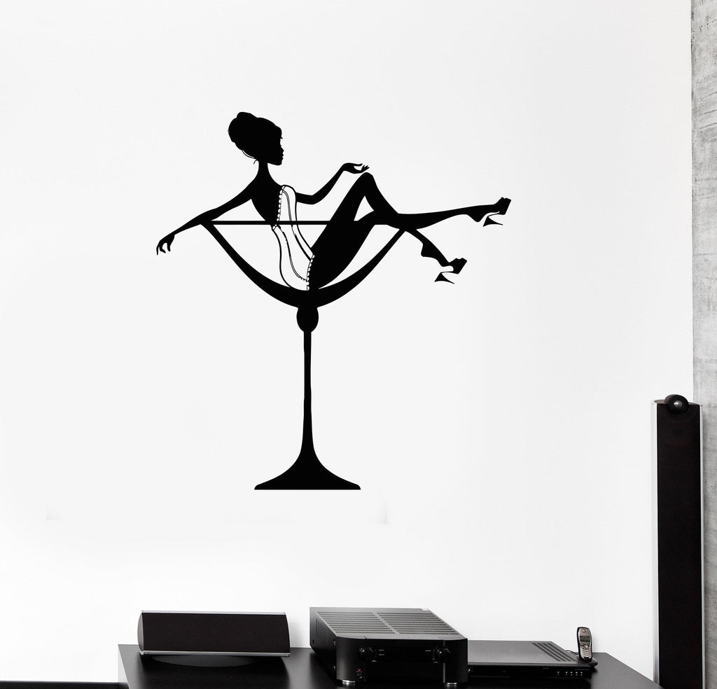 Wall Decal Sexy Woman Cocktail Glass Pin Up Art Decor Vinyl Stickers U U2013  Wallstickers4you