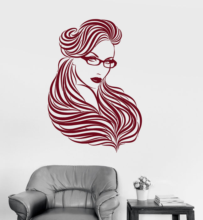 Vinyl Decal Girl Glasses Long Hair Beautiful Woman Beauty Stickers Unique Gift (ig2941)