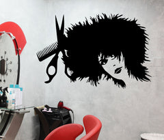 Vinyl Decal Hair Salon Barbershop Barber Tools Stylist Sexy Girl Beautiful Woman Wall Stickers Unique Gift (ig836)
