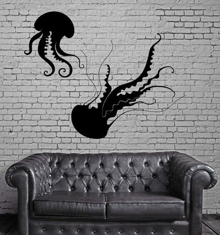 Jellyfish Wall Sticker Ocean Sea Marine Bathroom Vinyl Decal Unique Gift (ig2431)